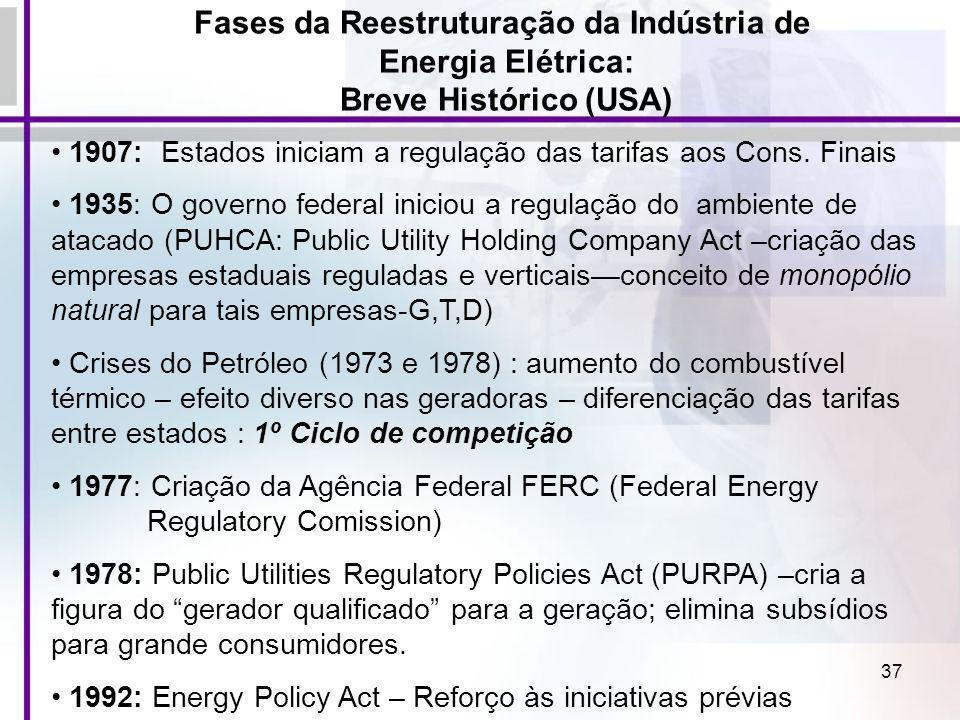 37 Fases da Reestruturação da Indústria de Energia Elétrica: Breve Histórico (USA) 1907: Estados iniciam a regulação das tarifas aos Cons. Finais 1935