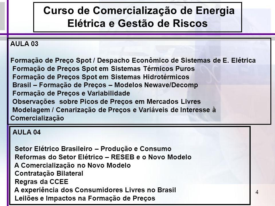 4 AULA 03 Formação de Preço Spot / Despacho Econômico de Sistemas de E. Elétrica Formação de Preços Spot em Sistemas Térmicos Puros Formação de Preços