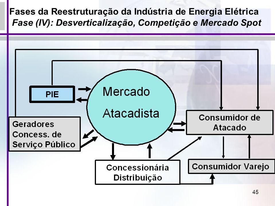 45 Fases da Reestruturação da Indústria de Energia Elétrica Fase (IV): Desverticalização, Competição e Mercado Spot