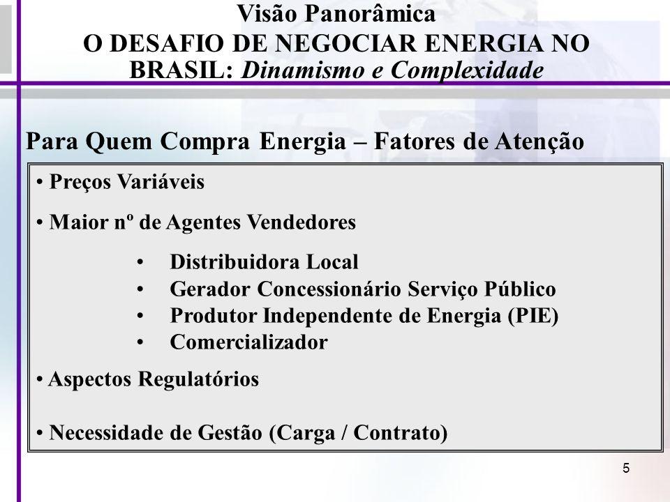 6 Para Quem Vende Energia – Fatores de Atenção Visão Panorâmica O DESAFIO DE NEGOCIAR ENERGIA NO BRASIL: Dinamismo e Complexidade Preços Variáveis Maior nº de Agentes Vendedores (Novos Players) Acompanhamento do Mercado (ACR; ACL) Acompanhamento da Evolução da Oferta (Leilões e Obras) Substitutivos Energéticos / Inovações Tecnológicos Política energética / Aspectos Regulatórios Movimentos de mercado (Fusões / Aquisições) Política macro-econômica -- Investimentos