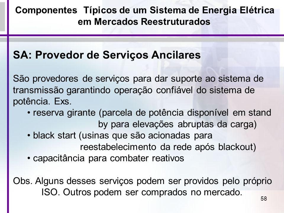 58 Componentes Típicos de um Sistema de Energia Elétrica em Mercados Reestruturados SA: Provedor de Serviços Ancilares São provedores de serviços para