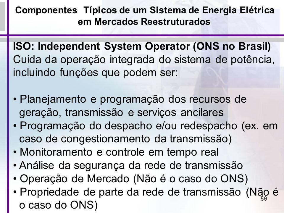 59 Componentes Típicos de um Sistema de Energia Elétrica em Mercados Reestruturados ISO: Independent System Operator (ONS no Brasil) Cuida da operação