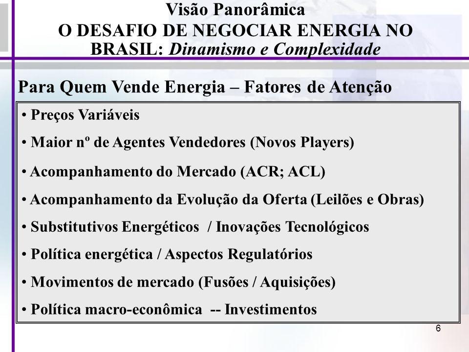 6 Para Quem Vende Energia – Fatores de Atenção Visão Panorâmica O DESAFIO DE NEGOCIAR ENERGIA NO BRASIL: Dinamismo e Complexidade Preços Variáveis Mai