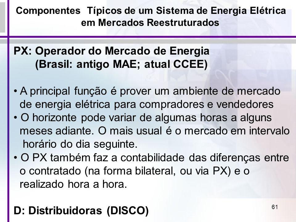61 Componentes Típicos de um Sistema de Energia Elétrica em Mercados Reestruturados PX: Operador do Mercado de Energia (Brasil: antigo MAE; atual CCEE