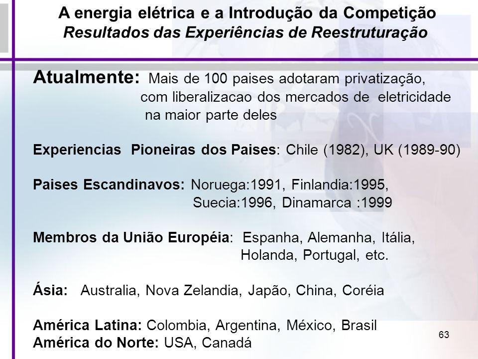 63 Atualmente: Mais de 100 paises adotaram privatização, com liberalizacao dos mercados de eletricidade na maior parte deles Experiencias Pioneiras do