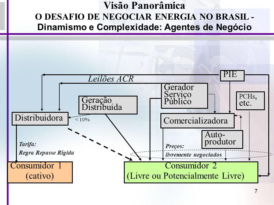 7 Visão Panorâmica O DESAFIO DE NEGOCIAR ENERGIA NO BRASIL - Dinamismo e Complexidade: Agentes de Negócio Consumidor 1 (cativo) Consumidor 2 (Livre ou