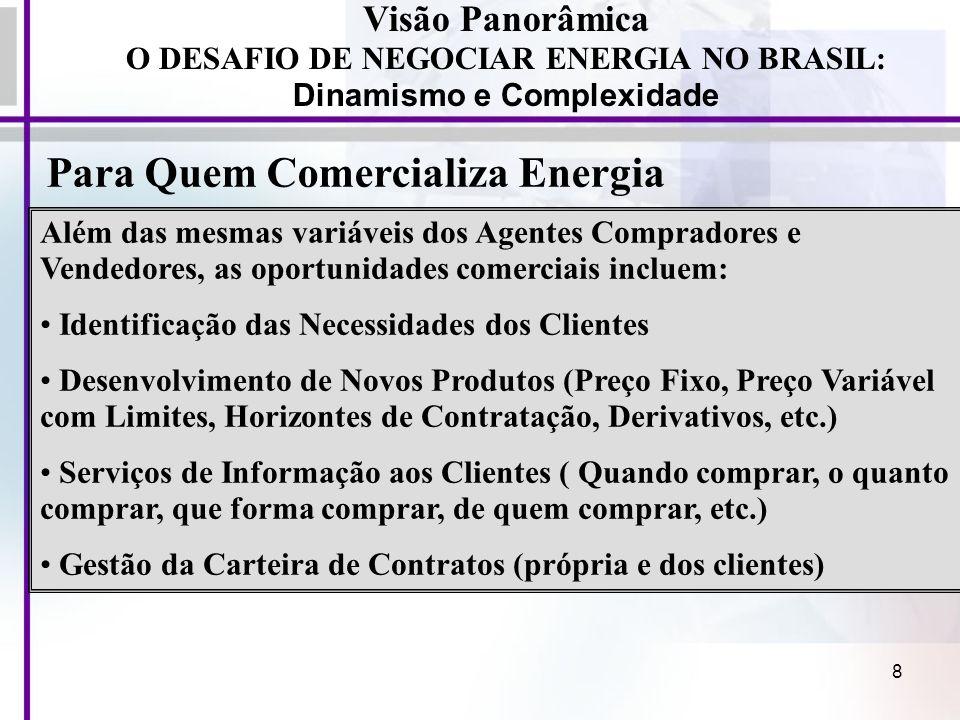 8 Visão Panorâmica O DESAFIO DE NEGOCIAR ENERGIA NO BRASIL: Dinamismo e Complexidade Além das mesmas variáveis dos Agentes Compradores e Vendedores, a