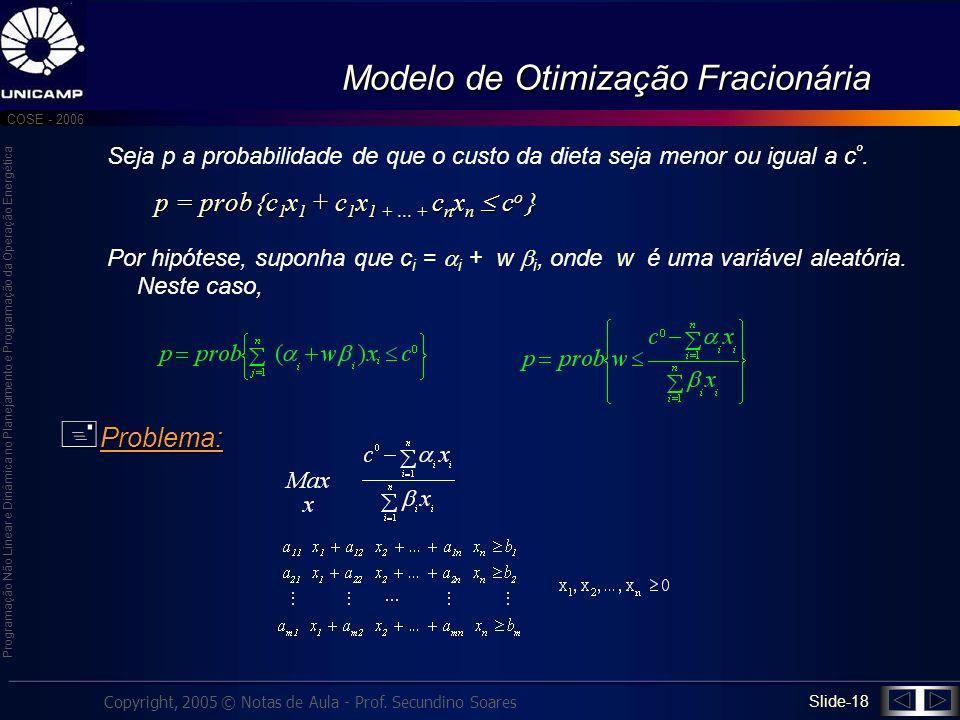 Programação Não Linear e Dinâmica no Planejamento e Programação da Operação Energética Copyright, 2005 © Notas de Aula - Prof. Secundino Soares COSE -
