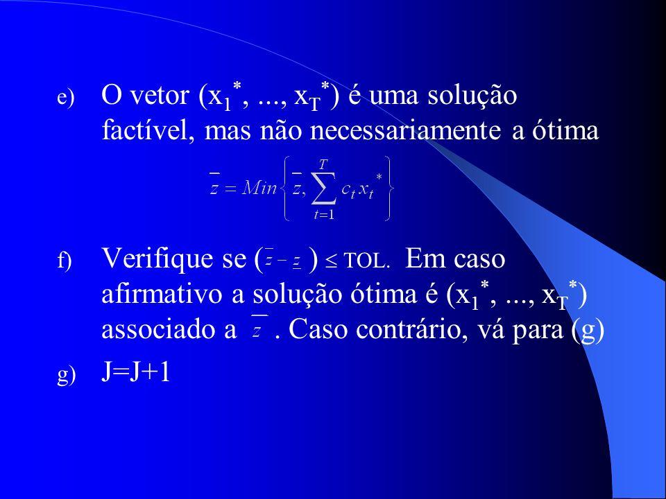 e) O vetor (x 1 *,..., x T * ) é uma solução factível, mas não necessariamente a ótima f) Verifique se ( ) TOL. Em caso afirmativo a solução ótima é (