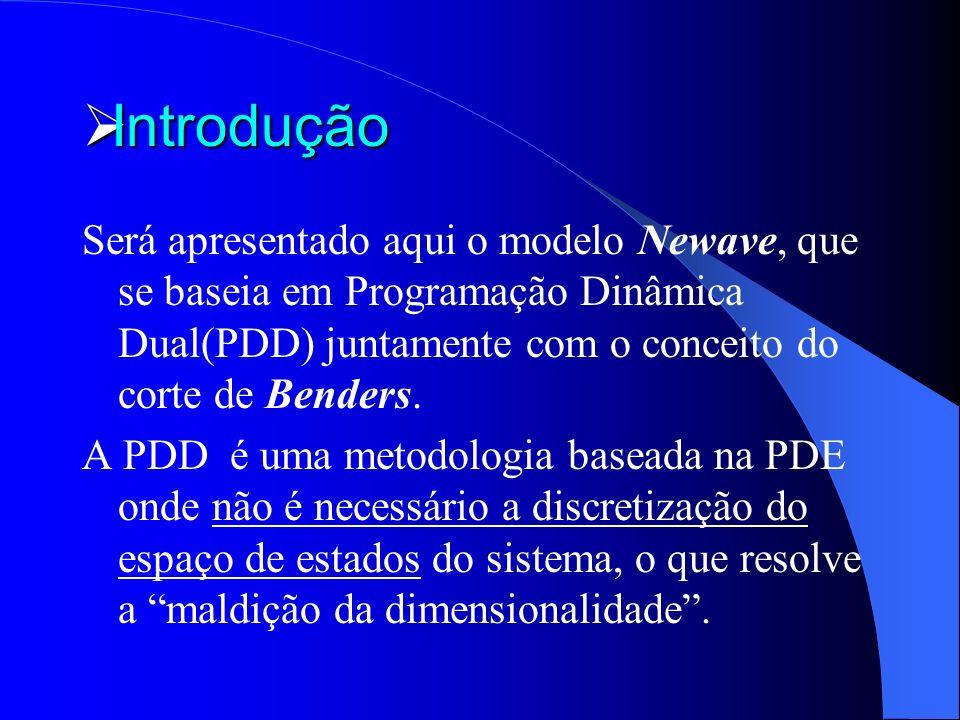 Introdução Introdução Será apresentado aqui o modelo Newave, que se baseia em Programação Dinâmica Dual(PDD) juntamente com o conceito do corte de Ben