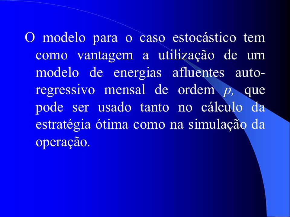 O modelo para o caso estocástico tem como vantagem a utilização de um modelo de energias afluentes auto- regressivo mensal de ordem p, que pode ser us