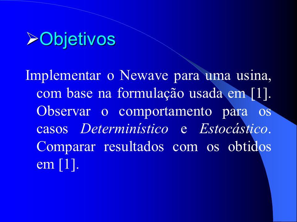 Objetivos Objetivos Implementar o Newave para uma usina, com base na formulação usada em [1]. Observar o comportamento para os casos Determinístico e