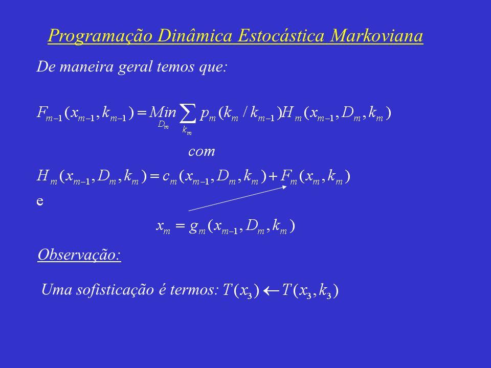 Programação Dinâmica Estocástica Markoviana De maneira geral temos que: Observação: Uma sofisticação é termos: