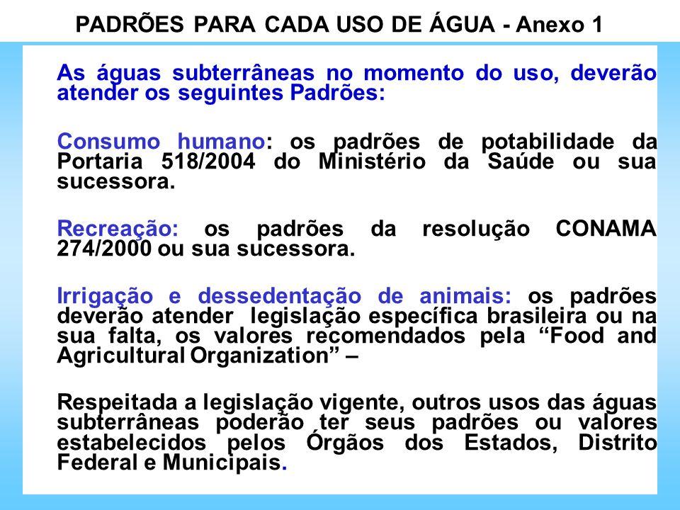 PADRÕES PARA CADA USO DE ÁGUA - Anexo 1 As águas subterrâneas no momento do uso, deverão atender os seguintes Padrões: Consumo humano: os padrões de p