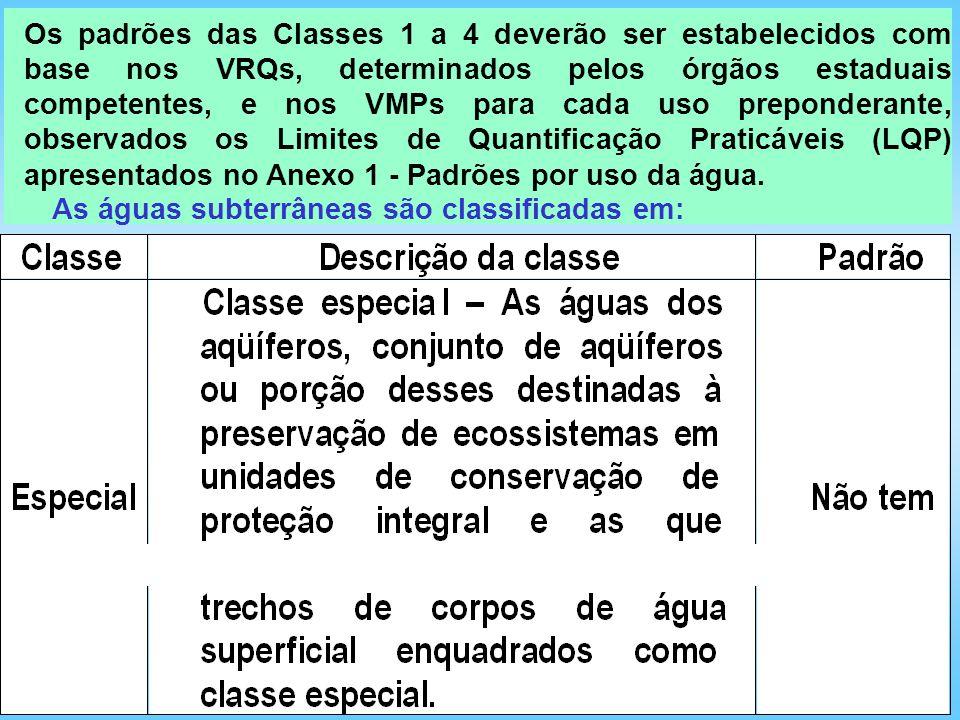 Os padrões das Classes 1 a 4 deverão ser estabelecidos com base nos VRQs, determinados pelos órgãos estaduais competentes, e nos VMPs para cada uso pr