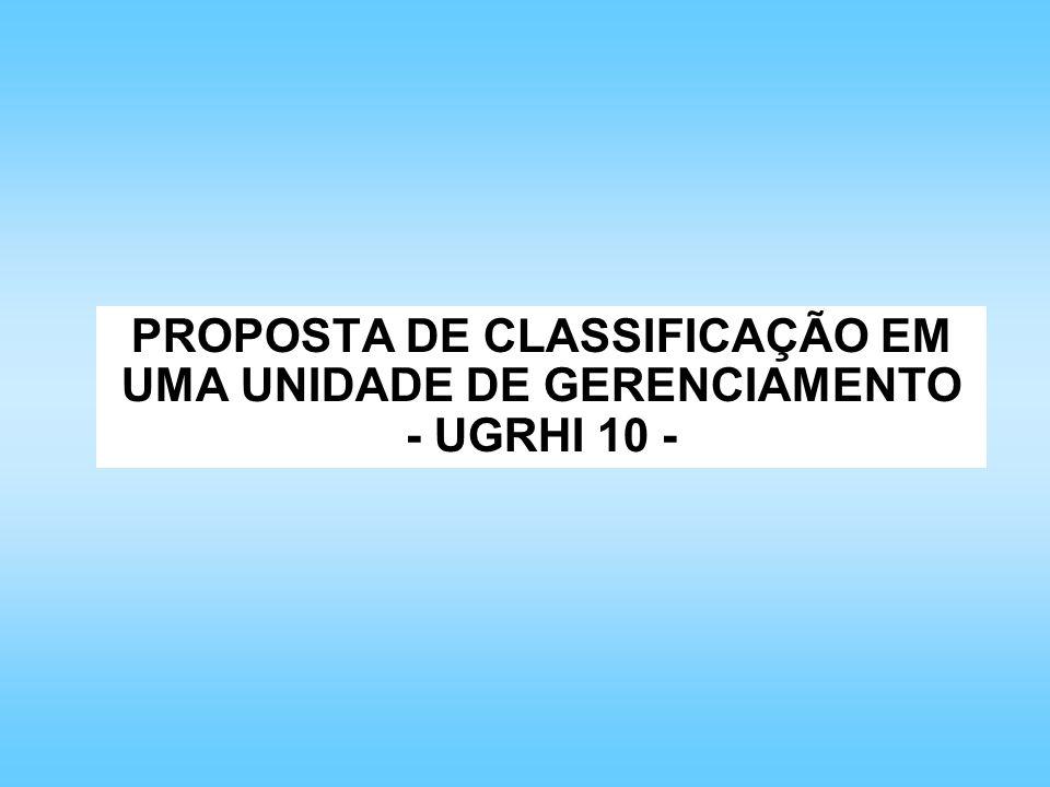 PROPOSTA DE CLASSIFICAÇÃO EM UMA UNIDADE DE GERENCIAMENTO - UGRHI 10 -
