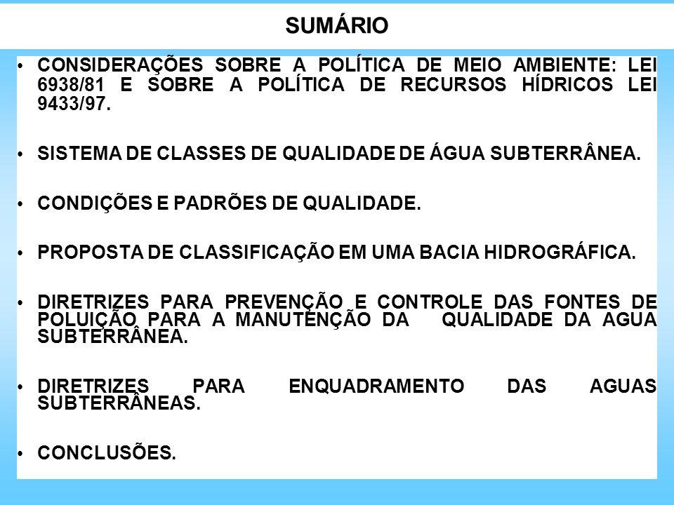 SUMÁRIO CONSIDERAÇÕES SOBRE A POLÍTICA DE MEIO AMBIENTE: LEI 6938/81 E SOBRE A POLÍTICA DE RECURSOS HÍDRICOS LEI 9433/97. SISTEMA DE CLASSES DE QUALID