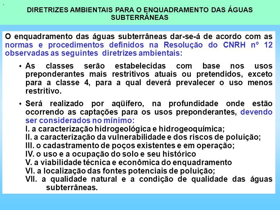 O enquadramento das águas subterrâneas dar-se-á de acordo com as normas e procedimentos definidos na Resolução do CNRH nº 12 observadas as seguintes d