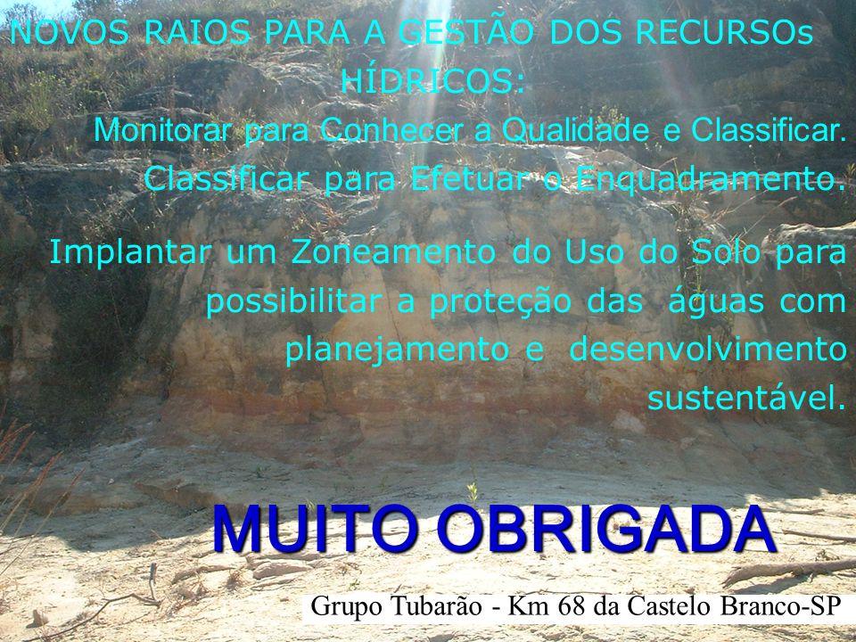 Grupo Tubarão - Km 68 da Castelo Branco-SP MUITO OBRIGADA NOVOS RAIOS PARA A GESTÃO DOS RECURSOs HÍDRICOS: Monitorar para Conhecer a Qualidade e Class