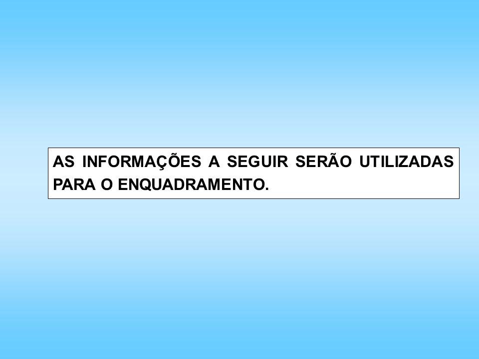 AS INFORMAÇÕES A SEGUIR SERÃO UTILIZADAS PARA O ENQUADRAMENTO.