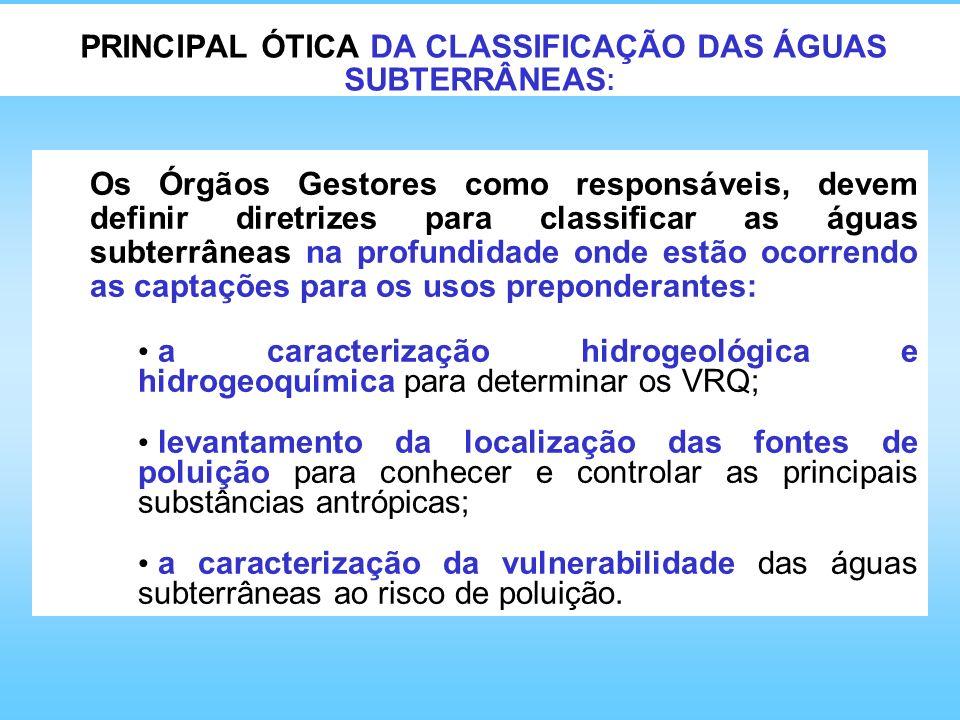 PRINCIPAL ÓTICA DA CLASSIFICAÇÃO DAS ÁGUAS SUBTERRÂNEAS : Os Órgãos Gestores como responsáveis, devem definir diretrizes para classificar as águas sub