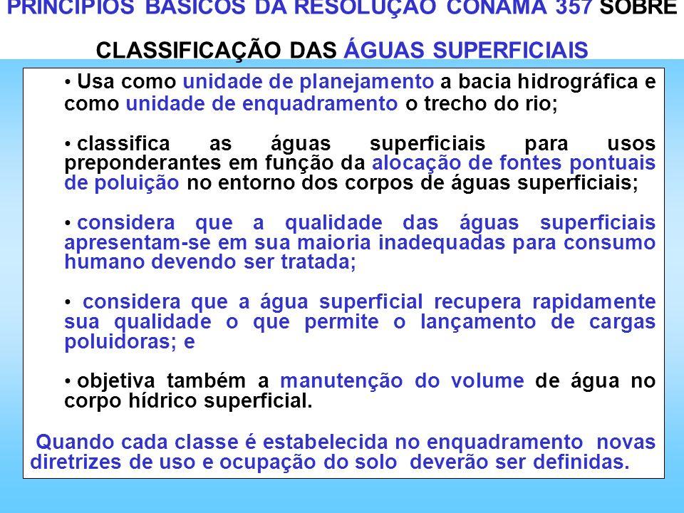PRINCÍPIOS BÁSICOS DA RESOLUÇÃO CONAMA 357 SOBRE CLASSIFICAÇÃO DAS ÁGUAS SUPERFICIAIS Usa como unidade de planejamento a bacia hidrográfica e como uni