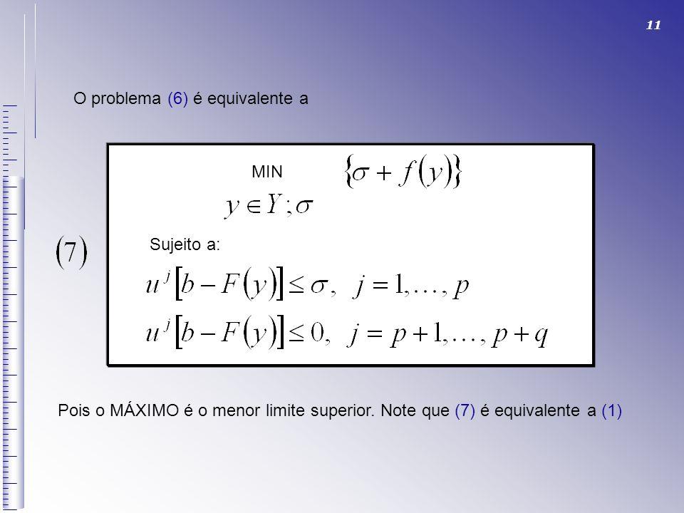 11 O problema (6) é equivalente a MIN Sujeito a: Pois o MÁXIMO é o menor limite superior. Note que (7) é equivalente a (1)