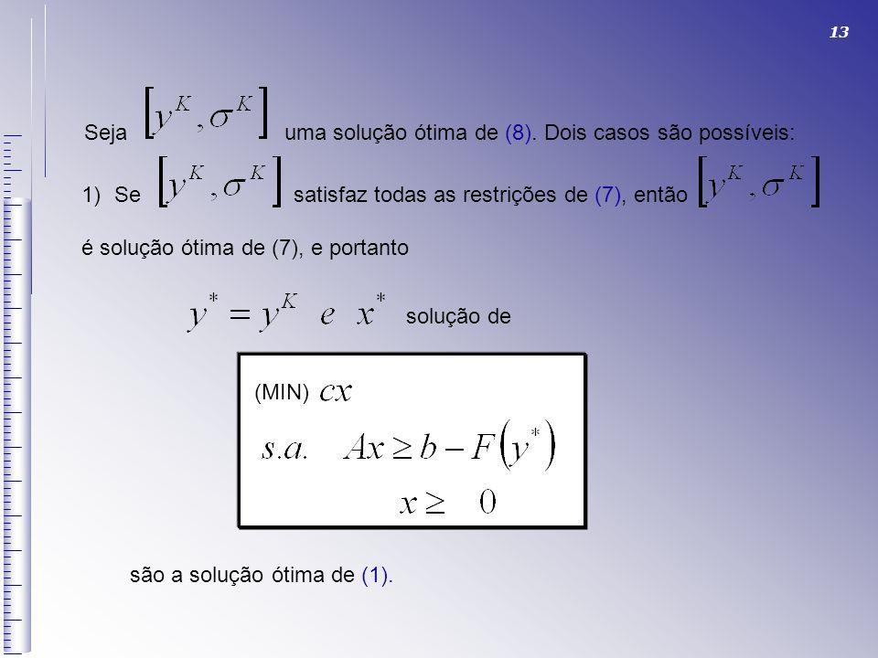 13 Seja uma solução ótima de (8). Dois casos são possíveis: 1)Se satisfaz todas as restrições de (7), então é solução ótima de (7), e portanto solução