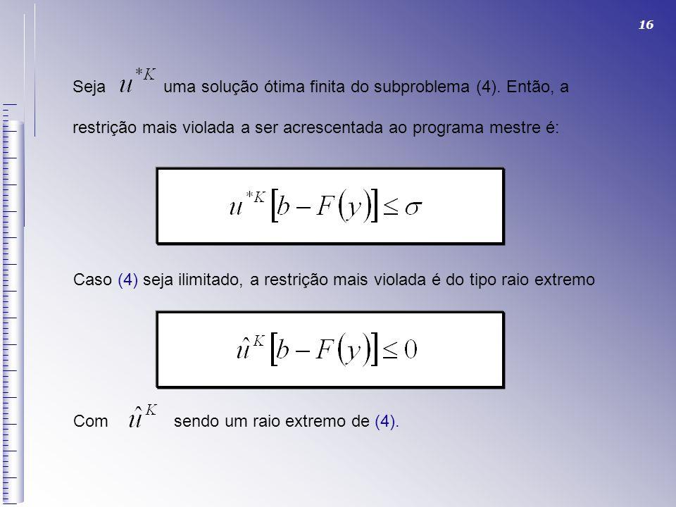 16 Seja uma solução ótima finita do subproblema (4). Então, a restrição mais violada a ser acrescentada ao programa mestre é: Caso (4) seja ilimitado,