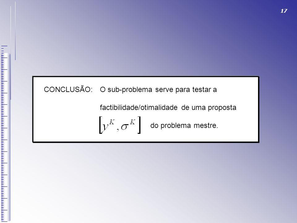 17 CONCLUSÃO:O sub-problema serve para testar a factibilidade/otimalidade de uma proposta do problema mestre.