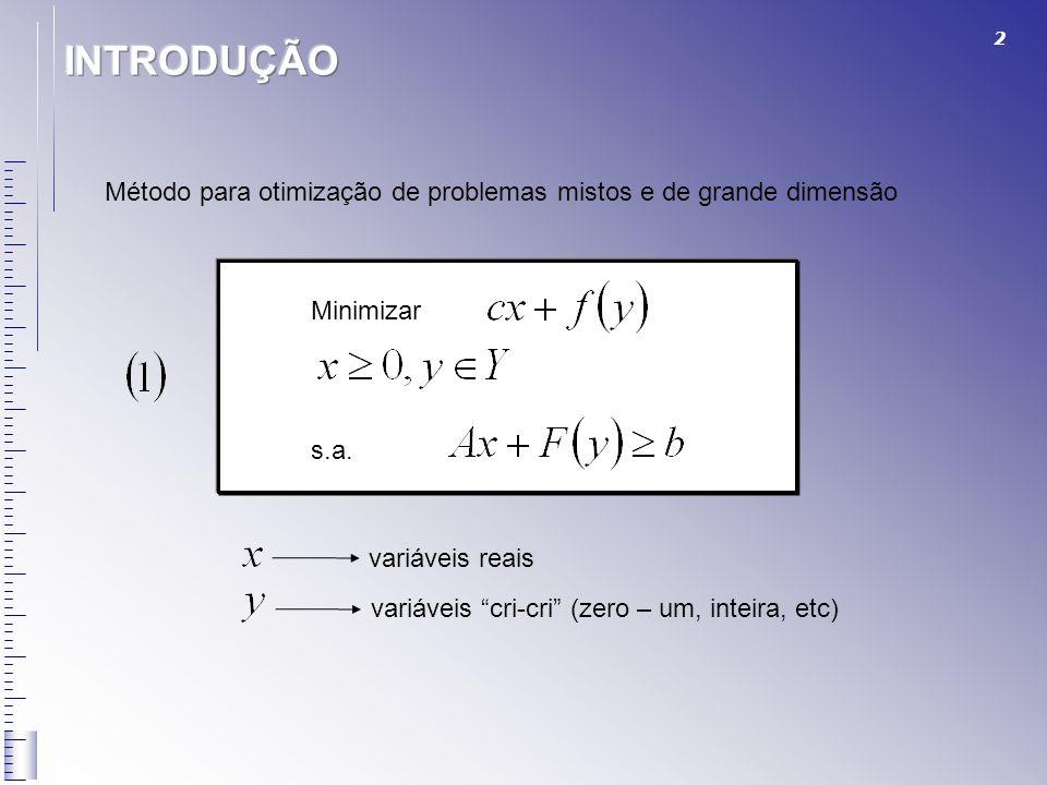 2 Método para otimização de problemas mistos e de grande dimensão Minimizar s.a. variáveis reais variáveis cri-cri (zero – um, inteira, etc)
