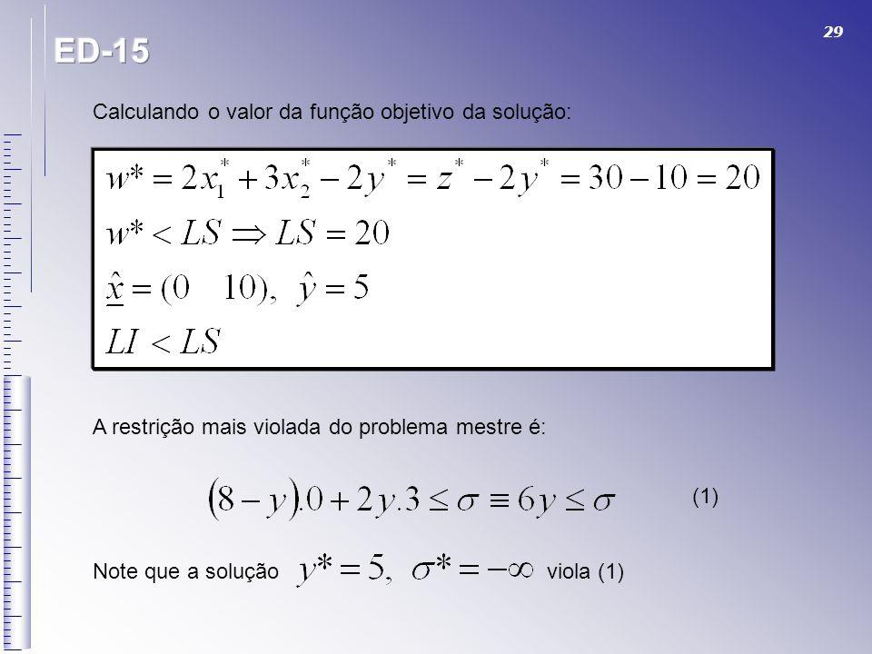 29 Calculando o valor da função objetivo da solução: A restrição mais violada do problema mestre é: (1) Note que a solução viola (1)