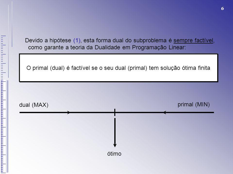 6 Devido a hipótese (1), esta forma dual do subproblema é sempre factível, como garante a teoria da Dualidade em Programação Linear: O primal (dual) é