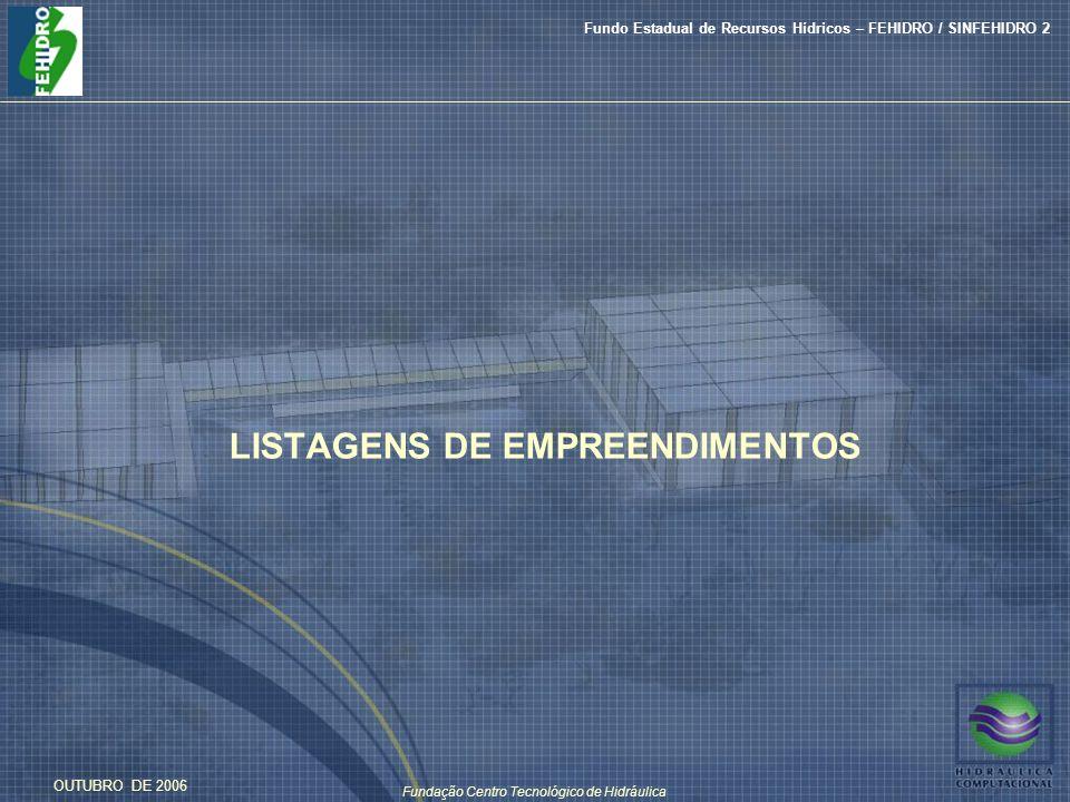 Fundação Centro Tecnológico de Hidráulica Fundo Estadual de Recursos Hídricos – FEHIDRO / SINFEHIDRO 2 OUTUBRO DE 2006 LISTAGENS DE EMPREENDIMENTOS