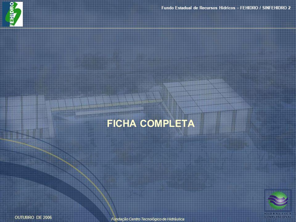 Fundação Centro Tecnológico de Hidráulica Fundo Estadual de Recursos Hídricos – FEHIDRO / SINFEHIDRO 2 OUTUBRO DE 2006 FICHA COMPLETA
