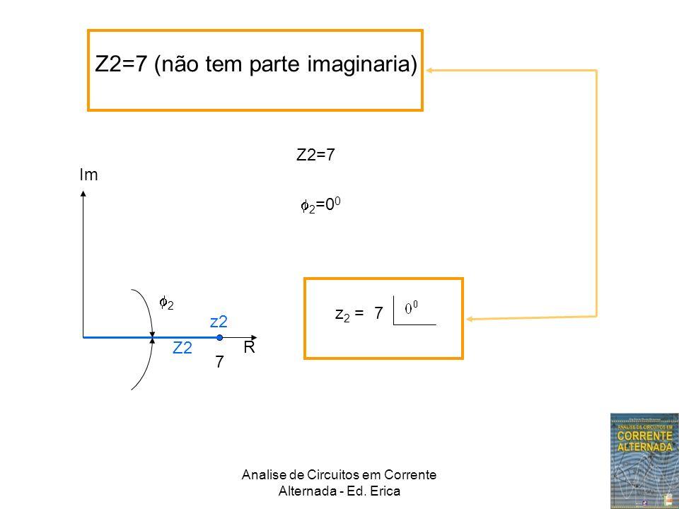 Analise de Circuitos em Corrente Alternada - Ed. Erica Z2=7 (não tem parte imaginaria) Im R 7 Z2 z2 2 z 2 = 7 2 =0 0 Z2=7