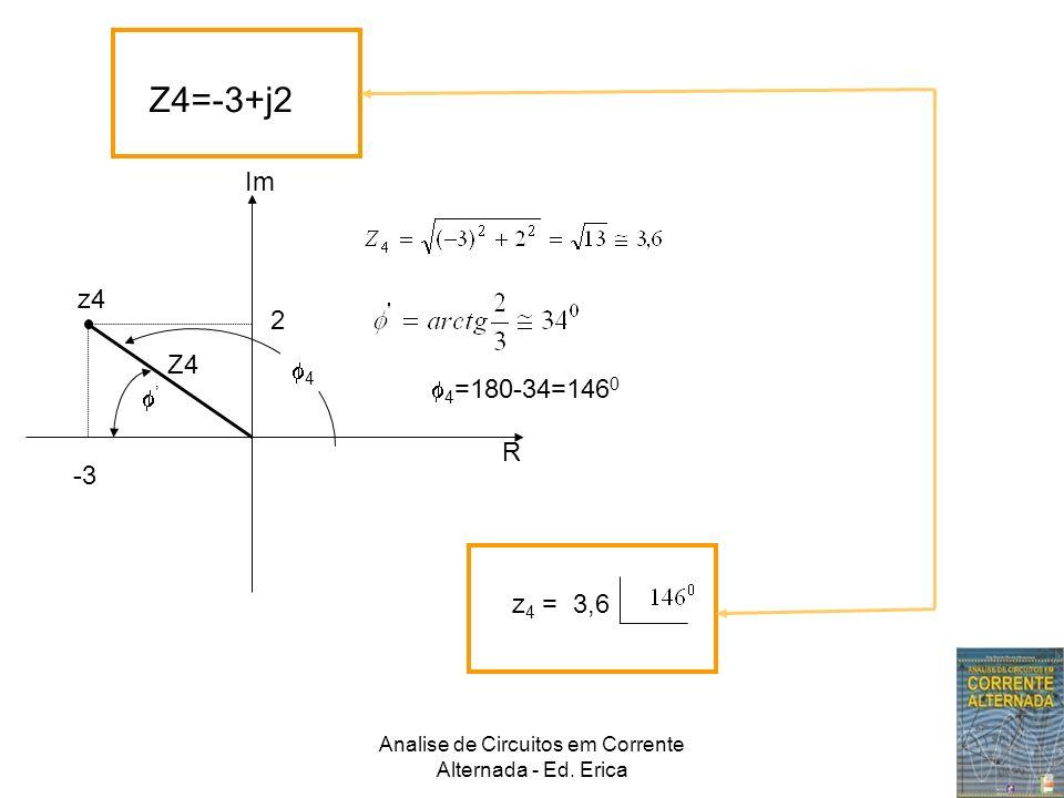 Analise de Circuitos em Corrente Alternada - Ed. Erica Z4=-3+j2 Im R z4 Z4 2 -3 4 4 =180-34=146 0 z 4 = 3,6