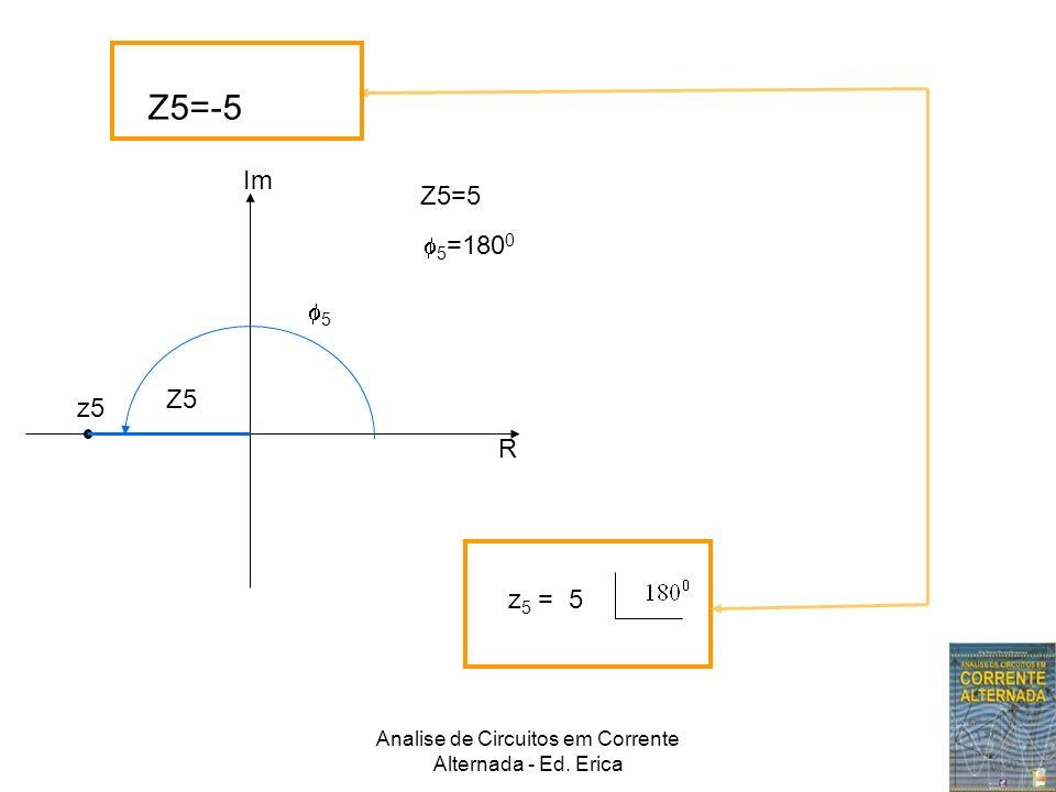 Analise de Circuitos em Corrente Alternada - Ed. Erica Z5=-5 Im R z5 Z5=5 Z5 5 5 =180 0 z 5 = 5