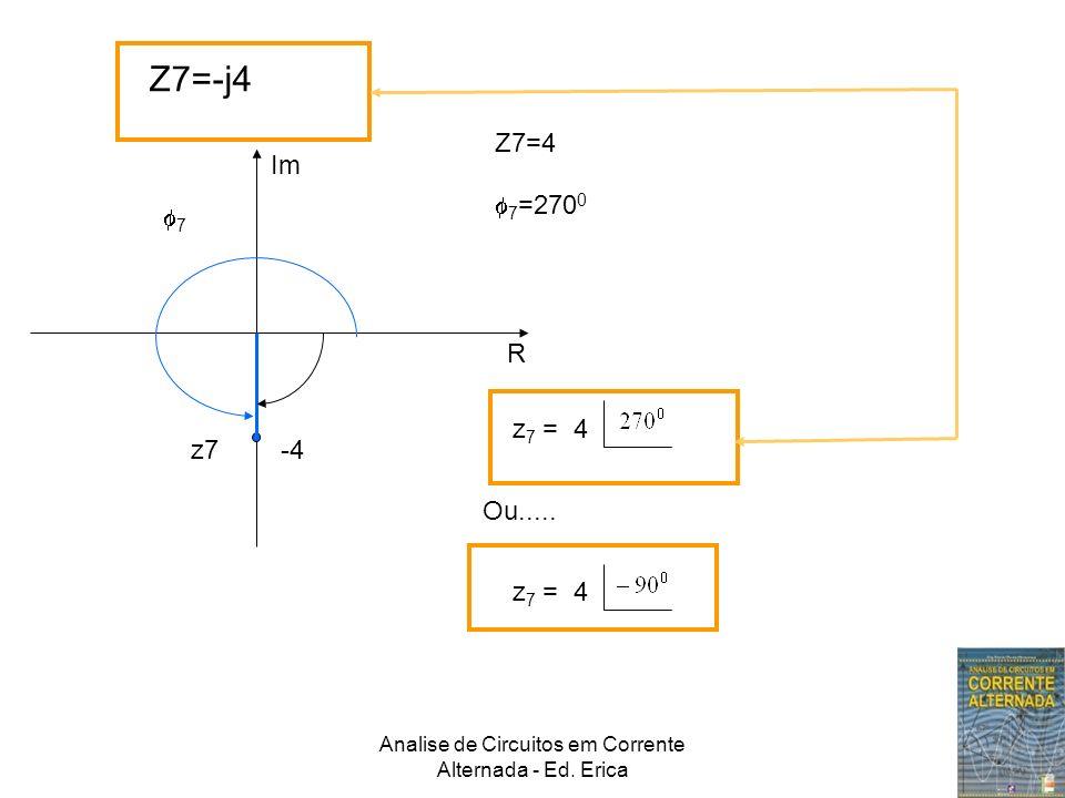Analise de Circuitos em Corrente Alternada - Ed. Erica Z7=-j4 Im R z7 -4 Z7=4 7 7 =270 0 z 7 = 4 Ou..... z 7 = 4