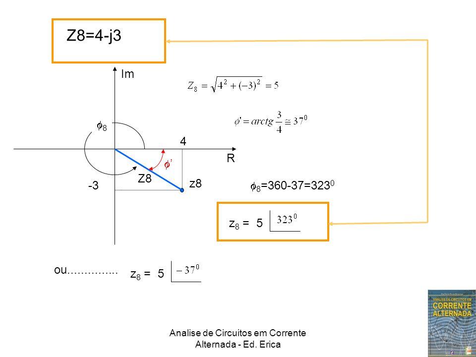 Analise de Circuitos em Corrente Alternada - Ed. Erica Z8=4-j3 Im R z8 Z8 4 -3 8 8 =360-37=323 0 z 8 = 5 ou............... z 8 = 5