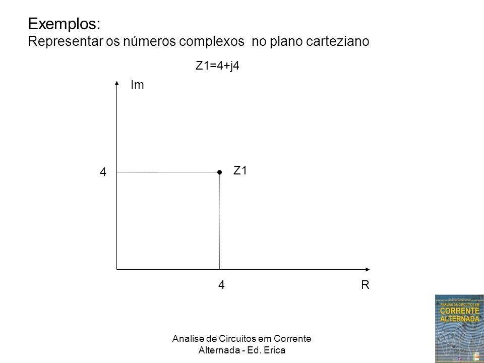 Analise de Circuitos em Corrente Alternada - Ed. Erica Exemplos: Representar os números complexos no plano carteziano Z1=4+j4 4 4 Im R Z1
