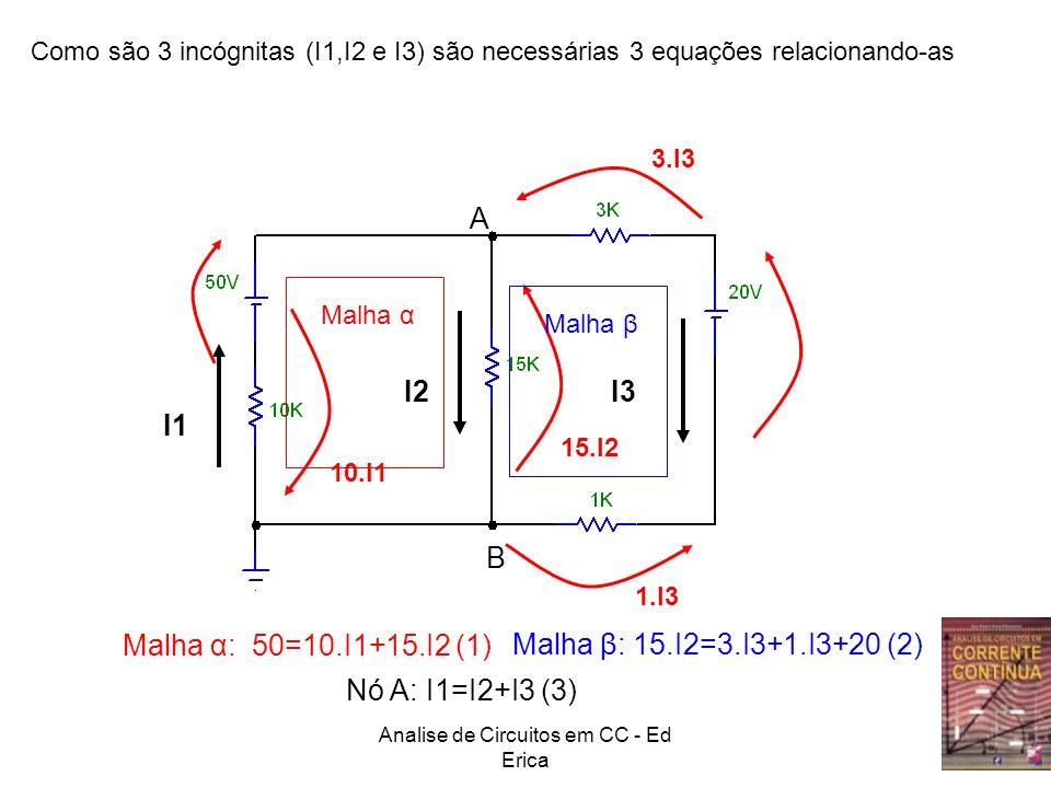 Analise de Circuitos em CC - Ed Erica A B Como são 3 incógnitas (I1,I2 e I3) são necessárias 3 equações relacionando-as I1 I2I3 10.I1 15.I2 3.I3 1.I3