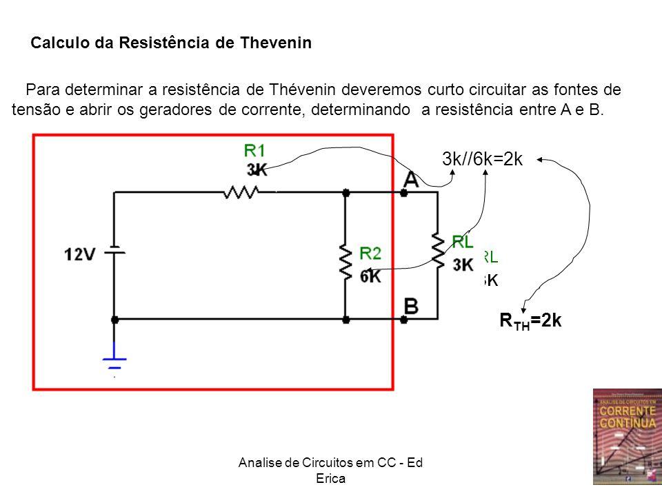 Analise de Circuitos em CC - Ed Erica Calculo da Resistência de Thevenin Para determinar a resistência de Thévenin deveremos curto circuitar as fontes