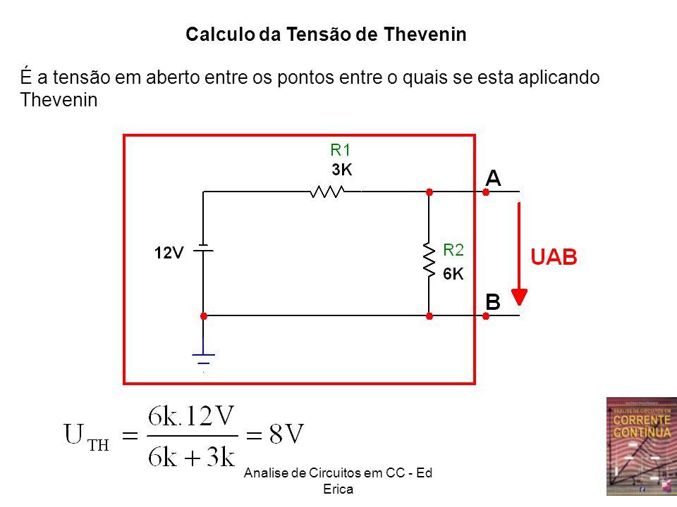 Analise de Circuitos em CC - Ed Erica Calculo da Tensão de Thevenin É a tensão em aberto entre os pontos entre o quais se esta aplicando Thevenin