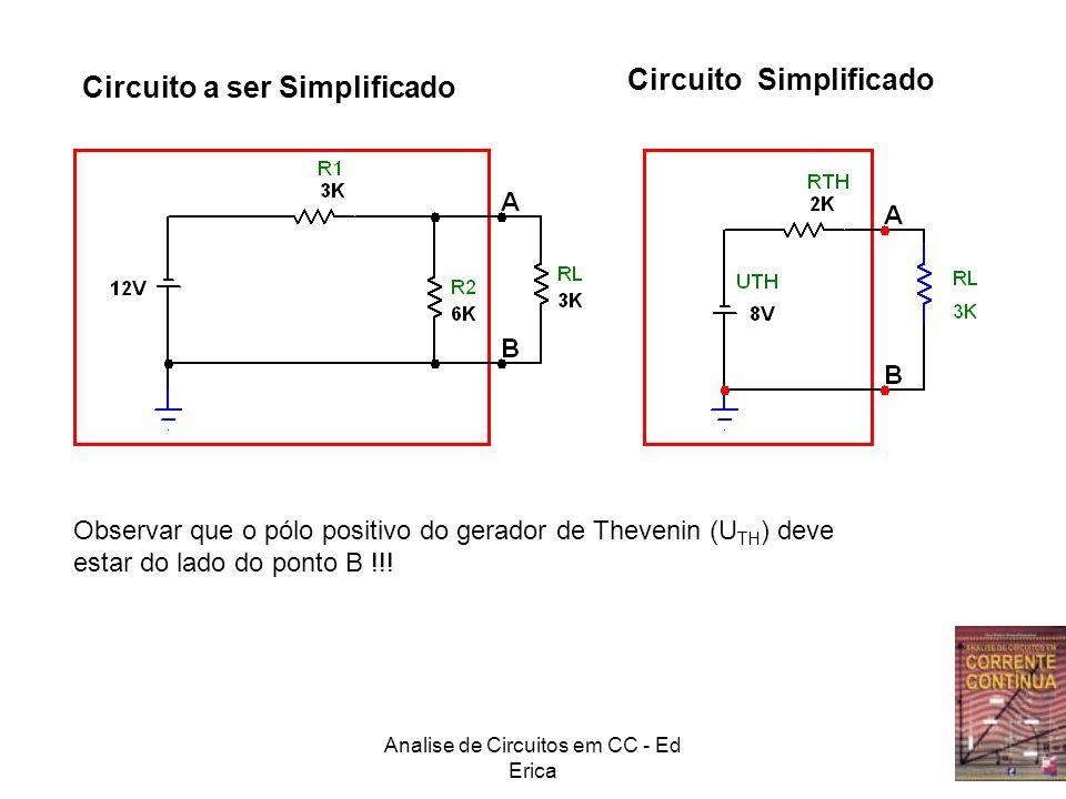 Analise de Circuitos em CC - Ed Erica Circuito a ser Simplificado Circuito Simplificado Observar que o pólo positivo do gerador de Thevenin (U TH ) de
