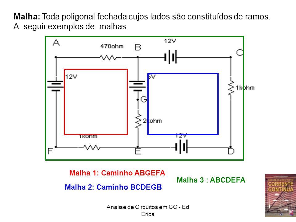 Analise de Circuitos em CC - Ed Erica A B Exercícios Determinar o sentido e o valor das correntes no circuito Existem 3 correntes no circuito que chamaremos de I1, I2 e I3 I1 I2I3 Malha βMalha α 3 malhas: 2 internas α e β e a externa Orientação arbitraria