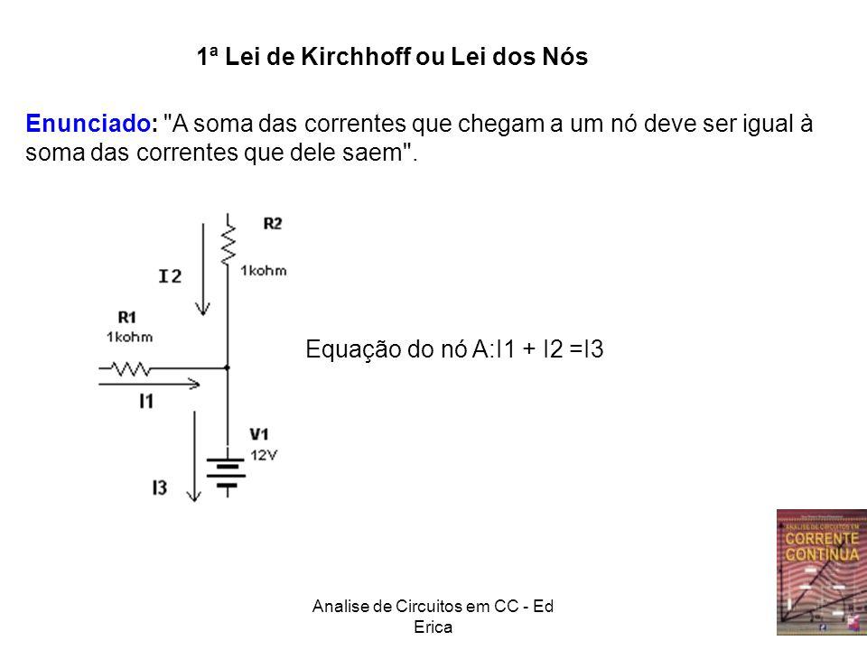 Analise de Circuitos em CC - Ed Erica A B Como são 3 incógnitas (I1,I2 e I3) são necessárias 3 equações relacionando-as I1 I2I3 10.I1 15.I2 3.I3 1.I3 Malha αMalha β Malha α: 50=10.I1+15.I2 (1) Malha β: 15.I2=3.I3+1.I3+20 (2) Nó A: I1=I2+I3 (3)