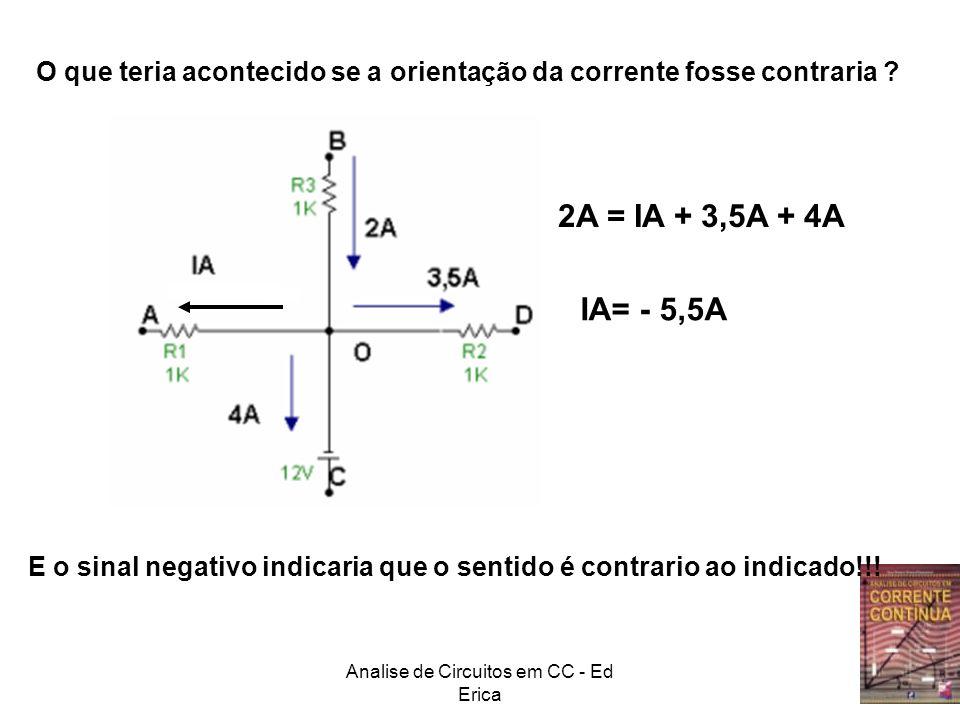 Analise de Circuitos em CC - Ed Erica O que teria acontecido se a orientação da corrente fosse contraria ? IA= - 5,5A E o sinal negativo indicaria que