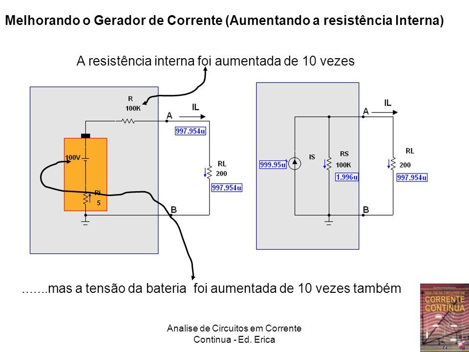 Analise de Circuitos em Corrente Continua - Ed. Erica Melhorando o Gerador de Corrente (Aumentando a resistência Interna) A resistência interna foi au