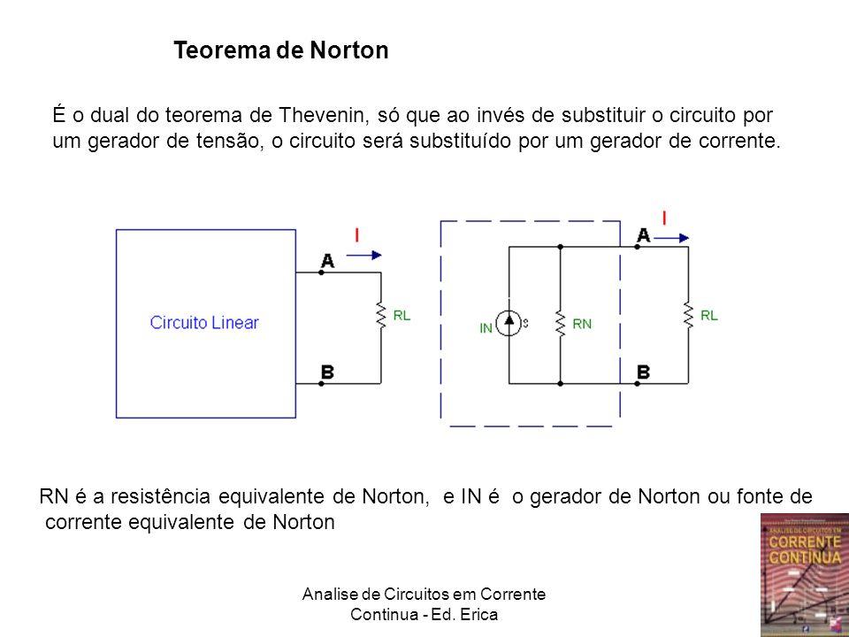 Analise de Circuitos em Corrente Continua - Ed. Erica Teorema de Norton É o dual do teorema de Thevenin, só que ao invés de substituir o circuito por